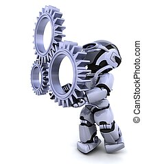 robot with gear mechanism - 3d Render of a robot with gear...