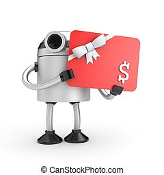 Robot with gift card. 3d illustration