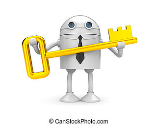 Robot with gold key
