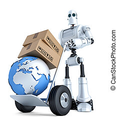 Robot with hand truck and stack of boxes. Isolated. Contains clipping path