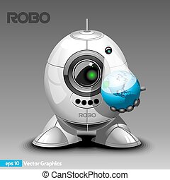 Robot with Hologram Projector - Robot Holding Planet Earth...