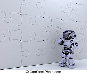 Robot with jigsaw puzzle business metaphor - 3D render of a...