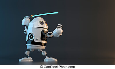 Robot with Katana sword. Technology concept. Contains clipping path