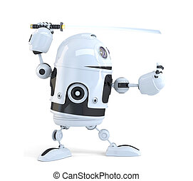 Robot with Katana sword. Technology concept. Isolated. Contains clipping path