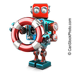 Robot with lifebuoy. Technology concept. Isolated. Contains clipping path