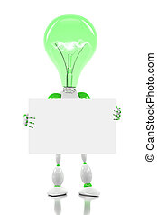 robot with light bulb for its head, holding a blank card