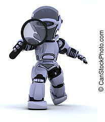 Robot with magnifying glass - 3D render of a robot searching...