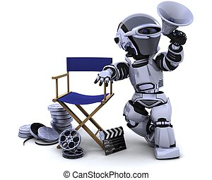 robot with megaphone and directors chair - 3D render of a...