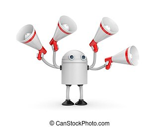 Robot with megaphones. 3d illustration