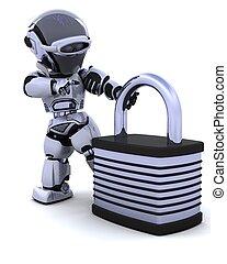 robot with padlock - 3D Render of a robot with padlock
