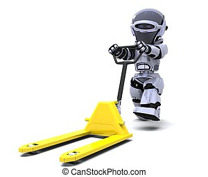 Robot with pallet truck - 3D render of Robot with yellow...