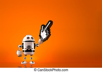 Robot with pixelated pointer. Contains clipping path