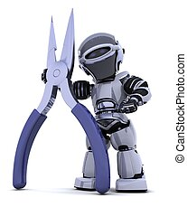 robot with pliers - 3D render of robot with a pair of pliers