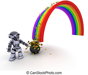 Robot with pot of gold at the end of the rainbow