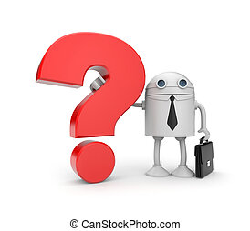 Robot with question - Business concept. Isolated on white