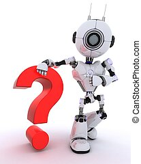 Robot with question mark symbol