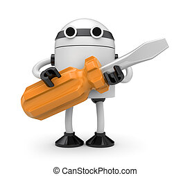 Robot with screwdriver - Manual worker. Isolated on white