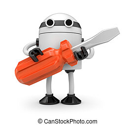 Robot with screwdriver - New technologies metaphor. Isolated...