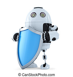 Robot with shielad. Security concept. Isolated. Contains clipping path
