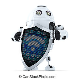 Robot with shield and wifi symbol on it. Internet security concept. Isolated. Contains clipping path