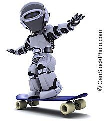 Robot with skateboard - 3D render of a Robot with skateboard