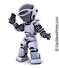 robot with smart phoine - 3D render of a robot character ...