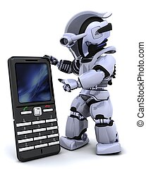 3D render of a robot character witha a smart phone