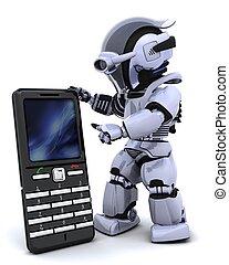 robot with smart phoine - 3D render of a robot character...