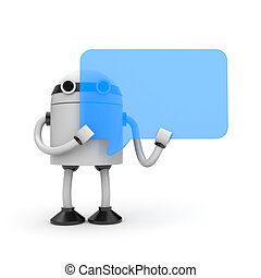 Robot with speech bubble - 3D Robot with blue speech bubble