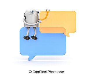 Robot with speech bubbles