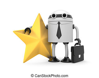 Robot with star - Image contain the clipping path