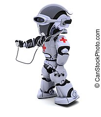 robot with stethoscope - 3D render of robot doctor with...