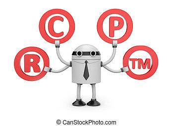 Robot with symbols
