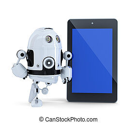 Robot with tablet pc. Isolated. Contains clipping path of tablet screen and entire scene.