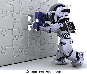 robot with the final piece of the puzzle - 3D render of a...