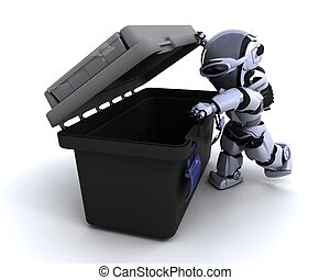 robot with tool box - 3D render of a robot  with tool box