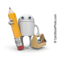 Robot with toolbox - New technologies metaphor. Isolated on...