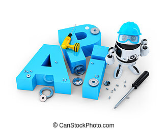 Robot with tools and application programming interface sign....