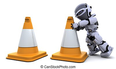 robot with traftic cones