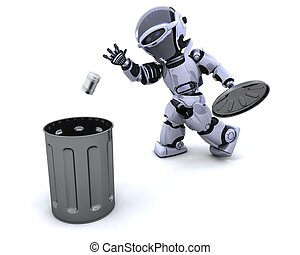 robot with trash