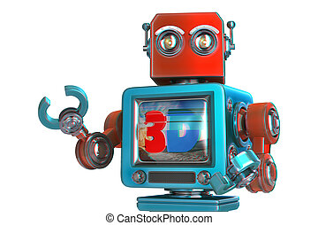 Robot with TV screen. 3D TV concept image. Isolated. Contains clipping path