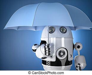 Robot with umbrella. Security concept. Contains clipping...