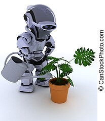 Robot with watering can feeding a plant - 3D render of a...