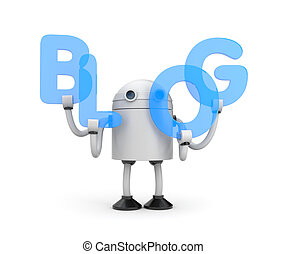 Robot with word BLOG