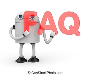 Robot with word FAQ