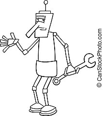 robot with wrench coloring page