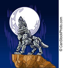 Vector cartoon clip art illustration of a mechanical robot wolf baying or howling at the moon while standing on a cliff.