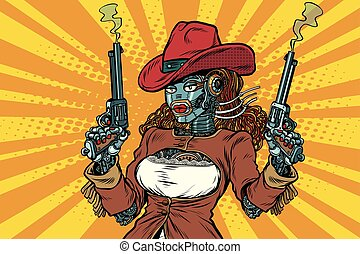 Robot woman gangster steampunk wild West, pop art retro...