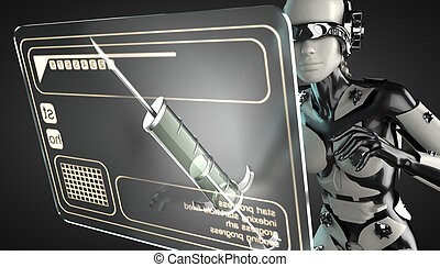 robot woman manipulating hologram display - cyborg woman...