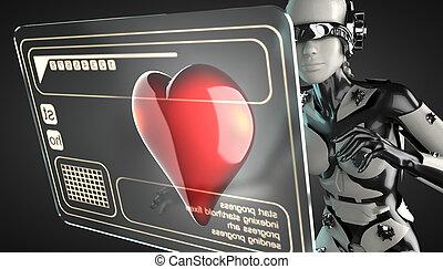 robot woman manipulating hologram display